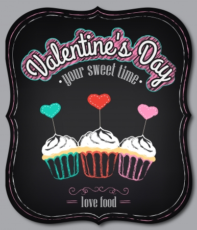Vintage card with graphic elements for Valentine's Day menu