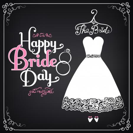frau dusche: Einladung Vorlage mit sch�nen Hochzeitskleid. Vintage-Stil Illustration