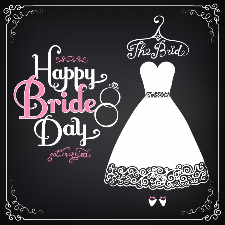 Uitnodiging sjabloon met mooie trouwjurk. Vintage stijl