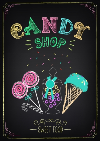 dulces: Ilustración del elemento gráfico del vintage en la pizarra. Candy Shop Vectores