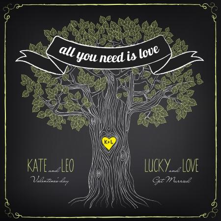 leaf tree: Illustrazione d'epoca di giorno o di matrimonio di San Valentino. Vettoriali