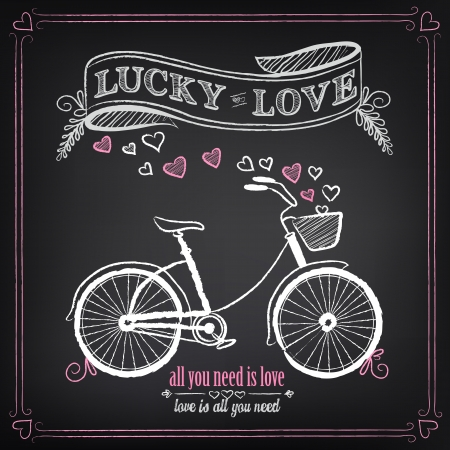 bikes: Vintage illustration of Valentines Day or wedding