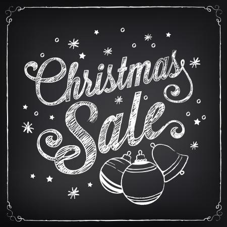 Vente de Noël affiche dessin à la craie sur le tableau noir