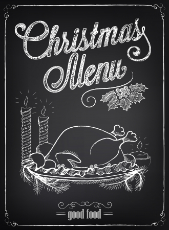 Illustration of a vintage graphic element for menu on the chalkboard. Christmas