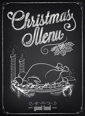 cena navideña: Ilustración de un elemento gráfico del vintage para el menú en la pizarra. Navidad