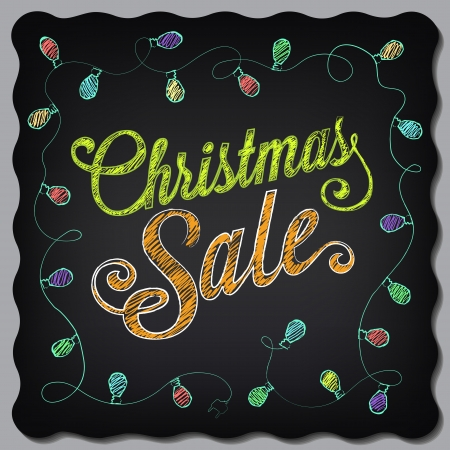 Christmas sale poster drawing with chalk on the blackboard Vector
