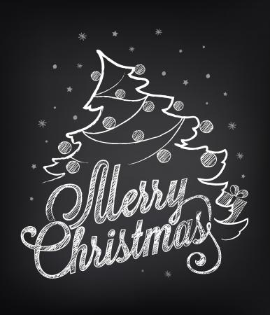 Christmas illustration on the chalkboard 向量圖像