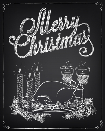 christmas turkey: Vintage Christmas illustration. Drawing with chalk on a blackboard