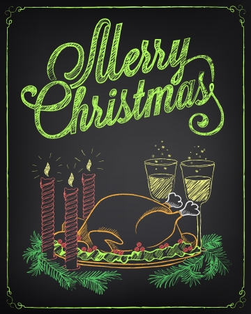 Vintage Christmas illustration. Chalking, freehand drawing Vector