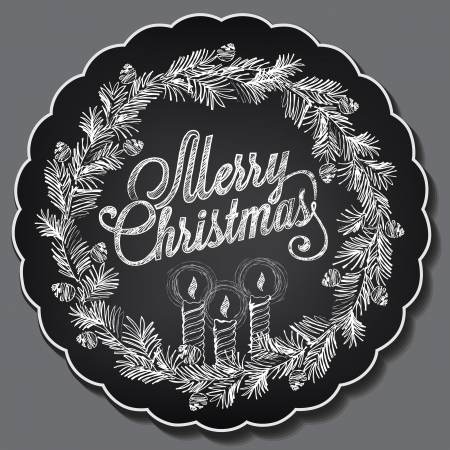 Vintage Christmas illustration. Chalking, freehand drawing