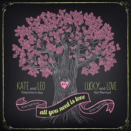 leaf tree: Illustrazione d'epoca di giorno o di matrimonio di San Valentino. Sfarinamento, disegno a mano libera Vettoriali