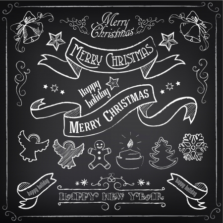 hand bell: Big set of vintage elements. Christmas set. Chalking, freehand drawing