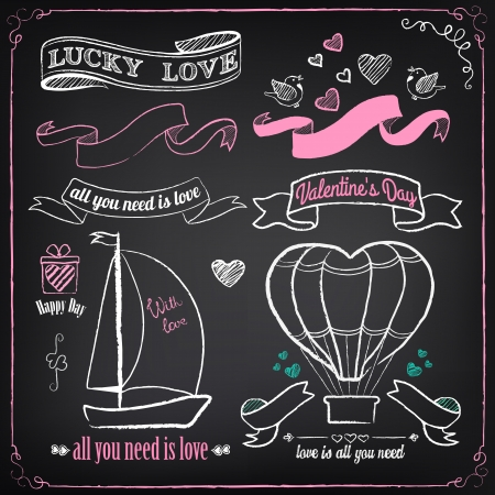 freehand drawing: Vintage love collection: gift, boat, hearts, birds, air-balloon. Chalking, freehand drawing Illustration