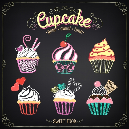 Vintage cupcake collection. Chalking, freehand drawing Vector
