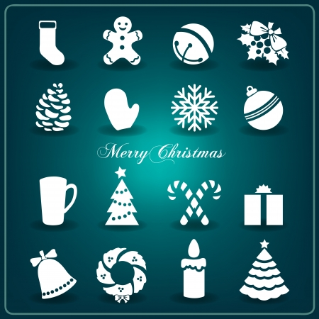 Christmas decoration collection | Set of decorative elements: Christmas tree, bells, mistletoe, mittens, snowflake, candle, garland, gingerbread. Vector.  Stock Vector - 24347753