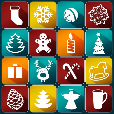 Christmas decoration collection | Set of Christmas icons: Christmas tree, bells, gift, snowflake, candle, deer, angel, gingerbread. Vector.  Vector