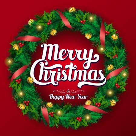 Christmas wreath. Merry Christmas lettering, garland, vector illustration