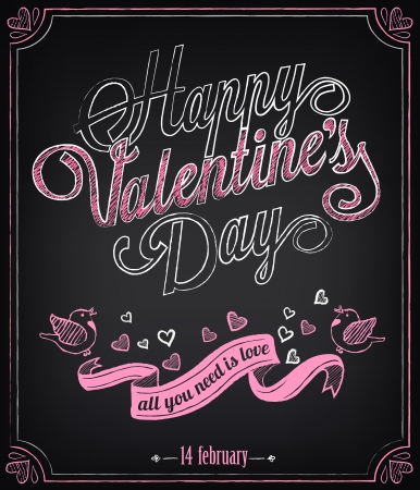 Vintage card with graphic elements for Valentine's Day. Chalking, freehand drawing 向量圖像
