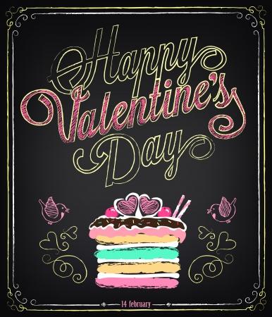 lments graphiques: Carte vintage avec des �l�ments graphiques pour la Saint Valentin. Farinage, dessin � main lev�e Illustration