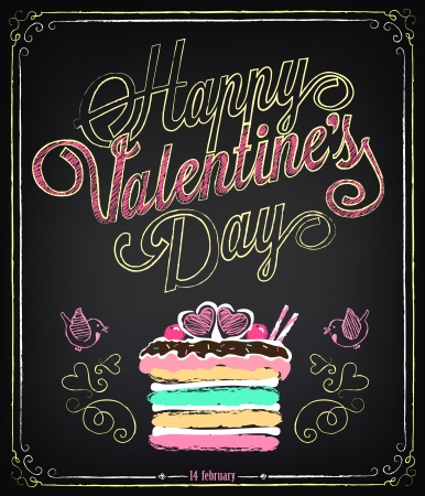 Vintage card with graphic elements for Valentine's Day. Chalking, freehand drawing Vector