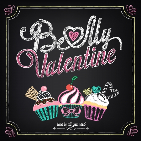 Vintage card with cupcakes for Valentines Day. Chalking, freehand drawing Vector