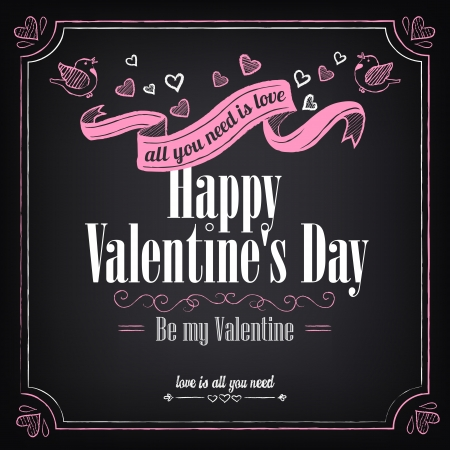 Vintage card with graphic elements for Valentines Day. Chalking, freehand drawing Vector