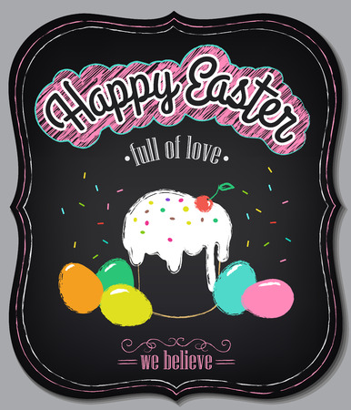 Happy Easter vintage card with cake and eggs. Chalking, freehand drawing Vector
