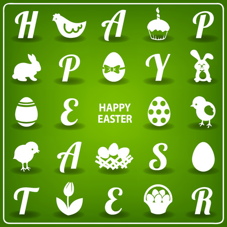 Easter set - bunnies, eggs, basket, letters and other graphic elements Vector