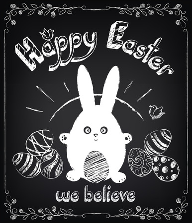 Vintage Happy Easter card with cute rabbit and eggs. Chalking, freehand drawing Vector