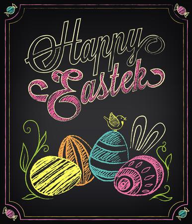 pascuas navide�as: Tarjeta de la vendimia con elementos gr�ficos para Pascua. Marcar con tiza, dibujo a mano alzada Vectores