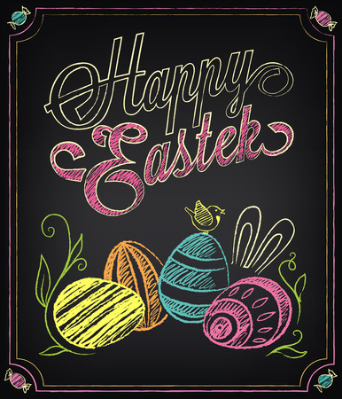 Vintage card with graphic elements for Easter. Chalking, freehand drawing Ilustração