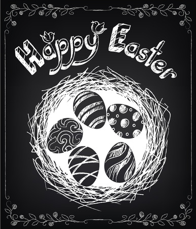 Vintage card with graphic elements for Easter. Chalking, freehand drawing Vector