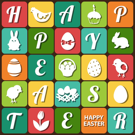 gallina con huevos: Conjunto de Pascua - conejitos, huevos, cesta, cartas y otros elementos gráficos