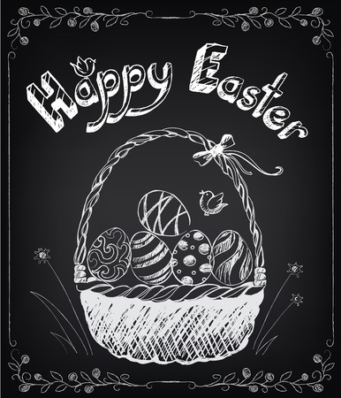 hand baskets: Vintage Happy Easter card with basket, eggs. Chalking, freehand drawing Illustration