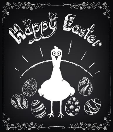 Vintage Happy Easter card with hen and eggs. Chalking, freehand drawing Vector