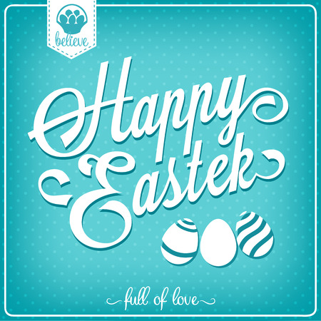 typographical: Happy Easter vintage card. Typographical background. EPS 10