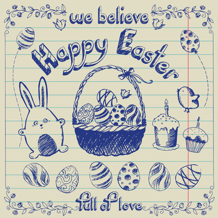 Easter set - bunnies, eggs, basket, lettering, cake, birds. Drawing in a notebook Vector
