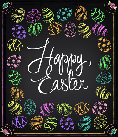 Happy Easter vintage card with colored eggs. Chalking, freehand drawing