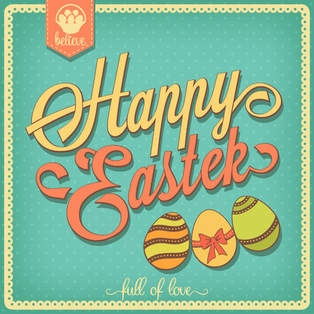 freehand tradition: Happy Easter vintage card with colored eggs. Retro style background.
