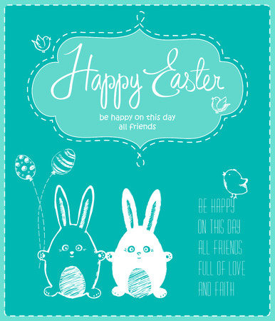 Cute happy Easter card with funny bunnies, eggs, birds and chicken