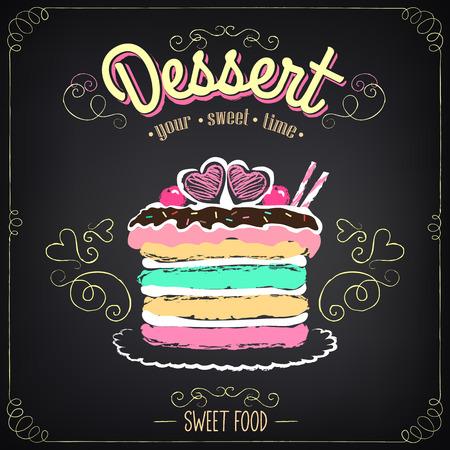 Uitstekende kaart Desserts met cake. Krijten, de vrije hand tekening