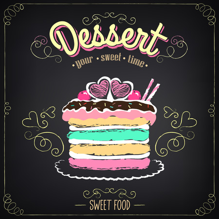 baking dish: Vintage card Desserts with cake. Chalking, freehand drawing Illustration