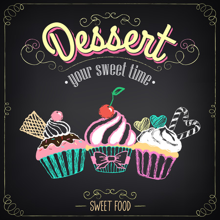 Vintage card Desserts with cupcakes. Chalking, freehand drawing Illustration