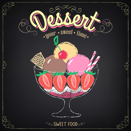 Vintage card Desserts with ice cream and strawberries. Chalking, freehand drawing Vector