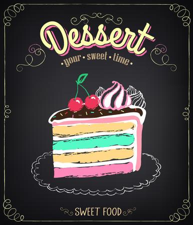 케이크와 함께 빈티지 카드의 디저트. 초킹, 손으로 그리는