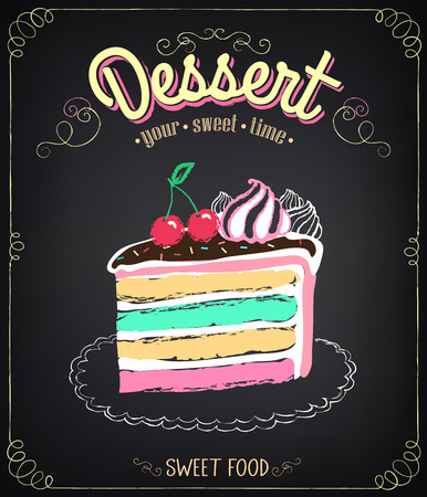 fudge: Vintage card Desserts with cake. Chalking, freehand drawing Illustration