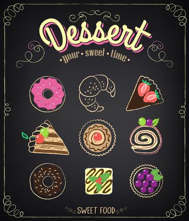 Słodki deser zestaw: cupcake, rogaliki, pączki, ciasta z jagodami. Rysunek kredą