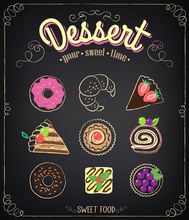 Sweet dessert set: cupcake, croissant, donuts, cake with berries. Chalk drawing Vector