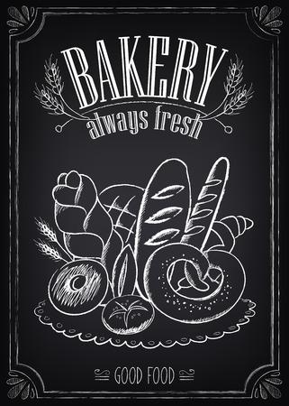 bagel: Het vintage Poster van de Bakkerij. Uit de vrije hand tekenen op het bord: brood en andere gebak Stock Illustratie