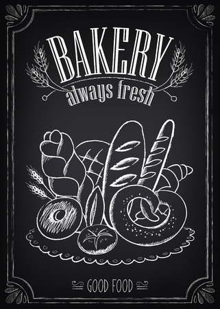 Vintage Bakery Poster. Freehand drawing on the chalkboard: bread and other pastries